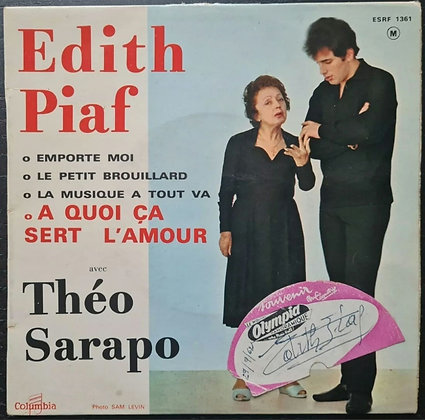 """Edith Piaf Signed Olympia Label on 'A Quoi Ça Sert L'amour' 7"""" Vinyl, 1962"""