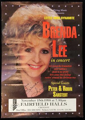 Brenda Lee Signed Poster Croydon Fairfield Halls 1994