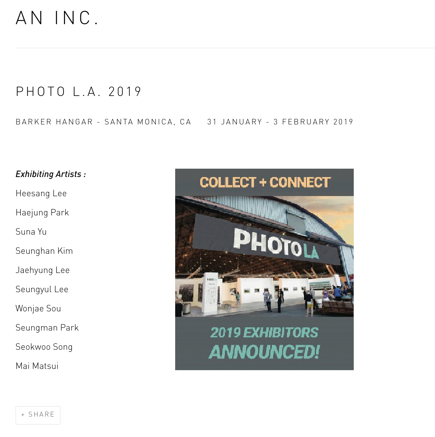 [Group Exhibition] 2019 PHOTO LA, Barker Hangar - Santa Monica, 미국