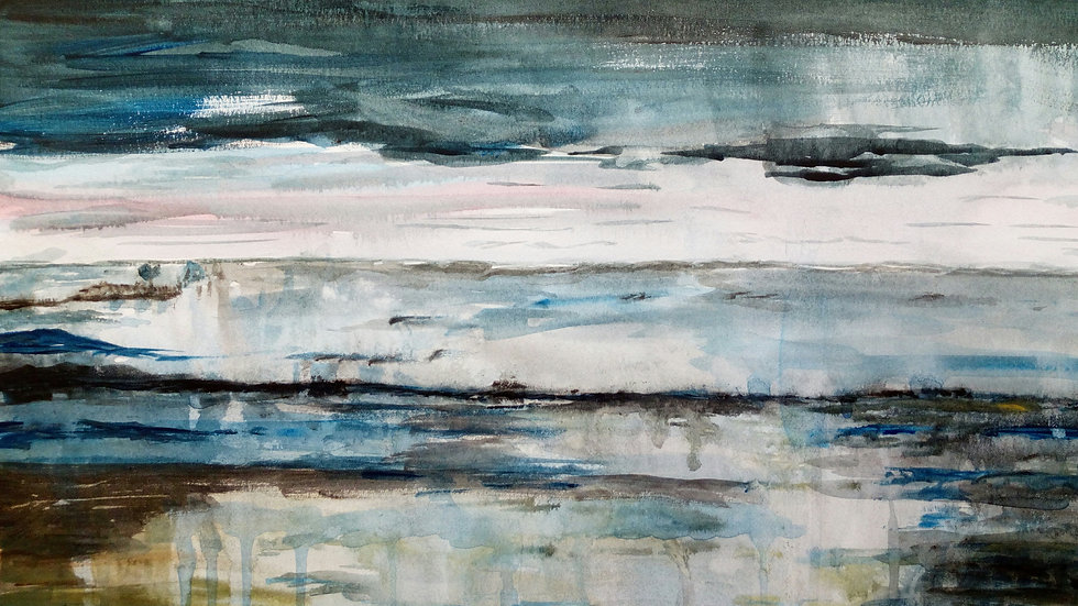 Moody Waters, abstract landscape, acrylic painting, full image.