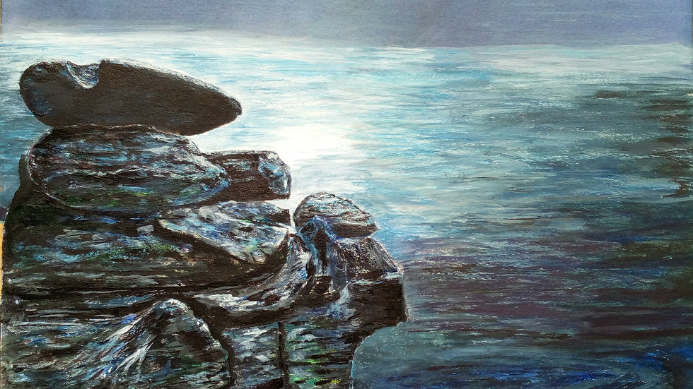 Moonlight Sentinels, mixed media painting, rocky outcrop and night sky, full image.