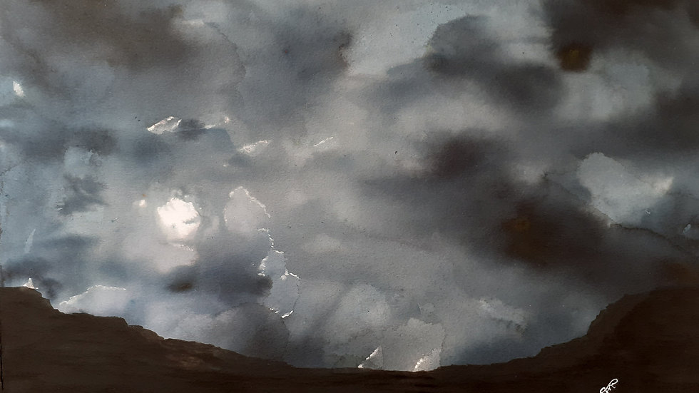 Black Tempest, watercolour painting, sky and landscape full image.