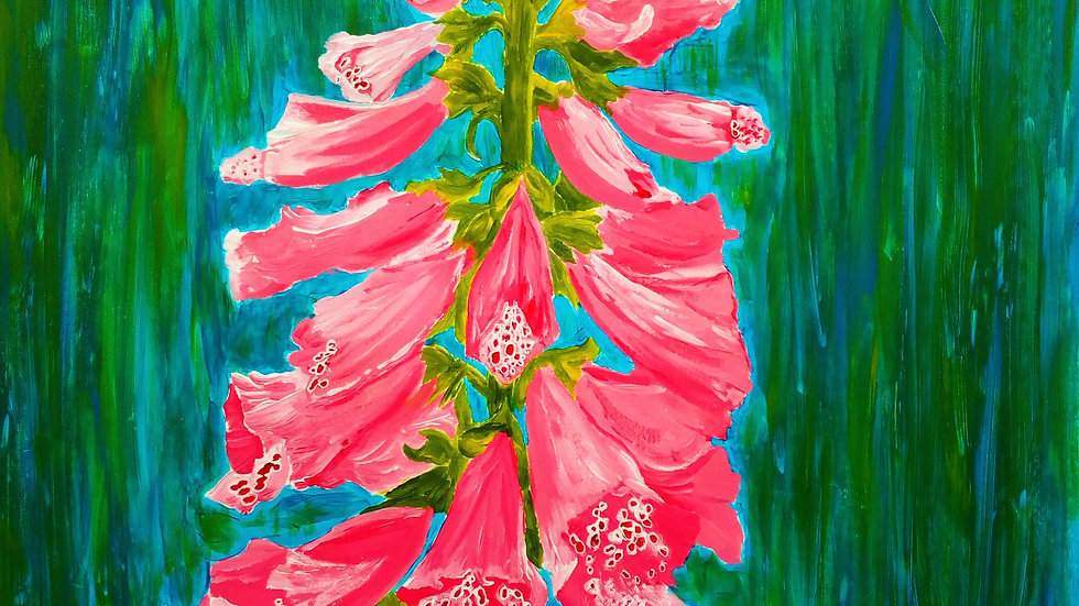 Foxglove, acrylic flower painting, full image.