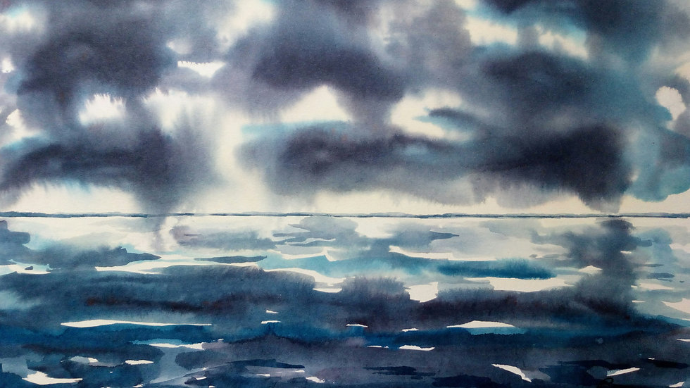 Light through the Dark, watercolour painting, full image.