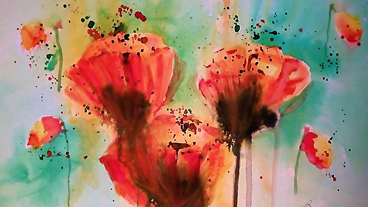 Orange Poppies, mixed media painting, full image poppies and background.