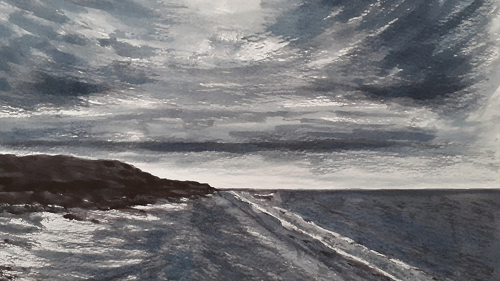 Low Tide in California, Ink Painting on paper, Seascape, Full image,