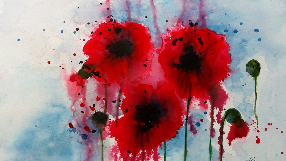In Remembrance, watercolour painting, red poppies, full image.
