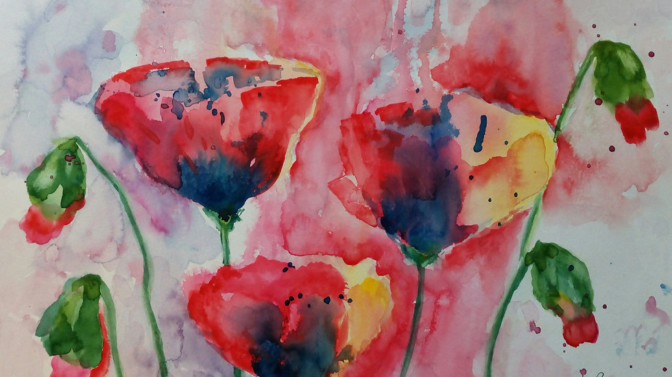 Red Poppies, watercolour flower painting,
