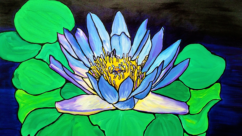 Blue Water Lily, original acrylic painting, full image of beautiful flower and background..