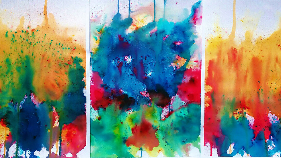 Riot Triptych, original watercolour painting, full image.