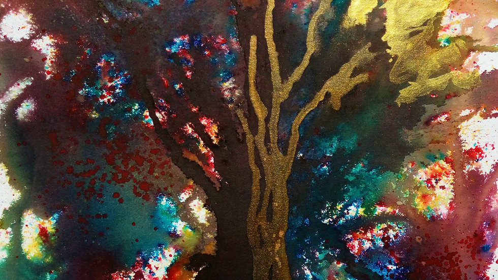 Autumn Tree, mixed media painting, full image.