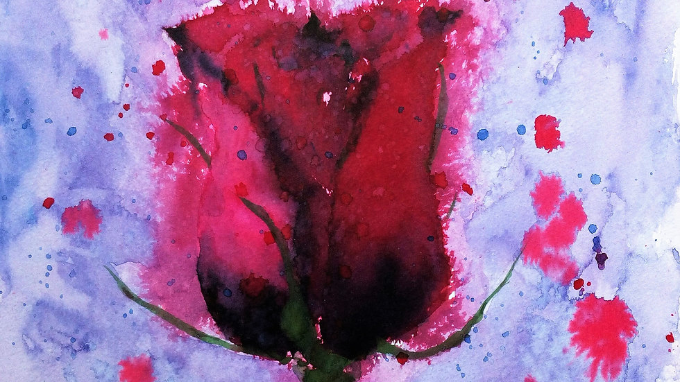 Gothic Rose, watercolour painting, red rose with falling petals, full image