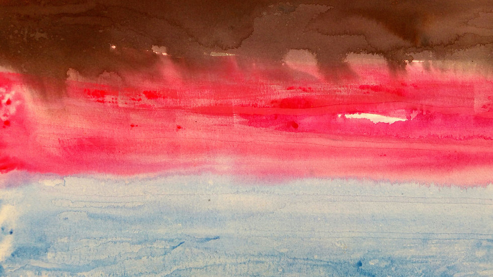 Changing Landscape, Black Pink Blue, abstract watercolour painting, full image.