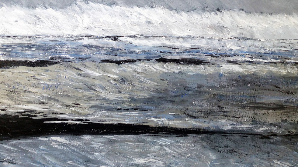 The Raging Sea acrylic painting, full image.