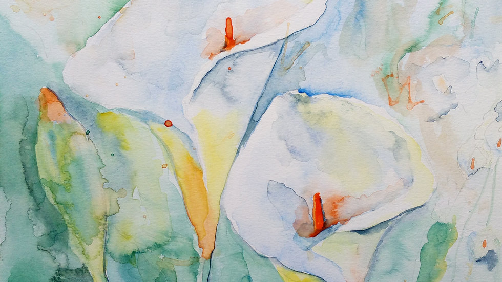 Lilies, watercolour painting, full image.