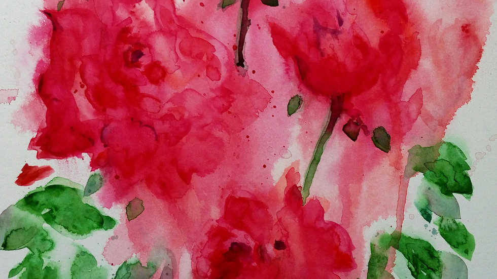 Blessed, watercolour painting of red roses, full image.