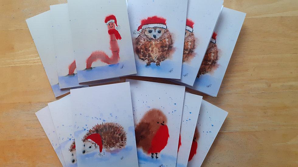 Set of Four Christmas cards