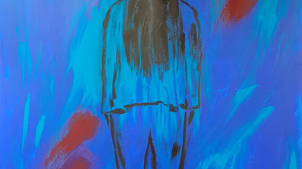Here, full image, back view of figure on a blue and red background.