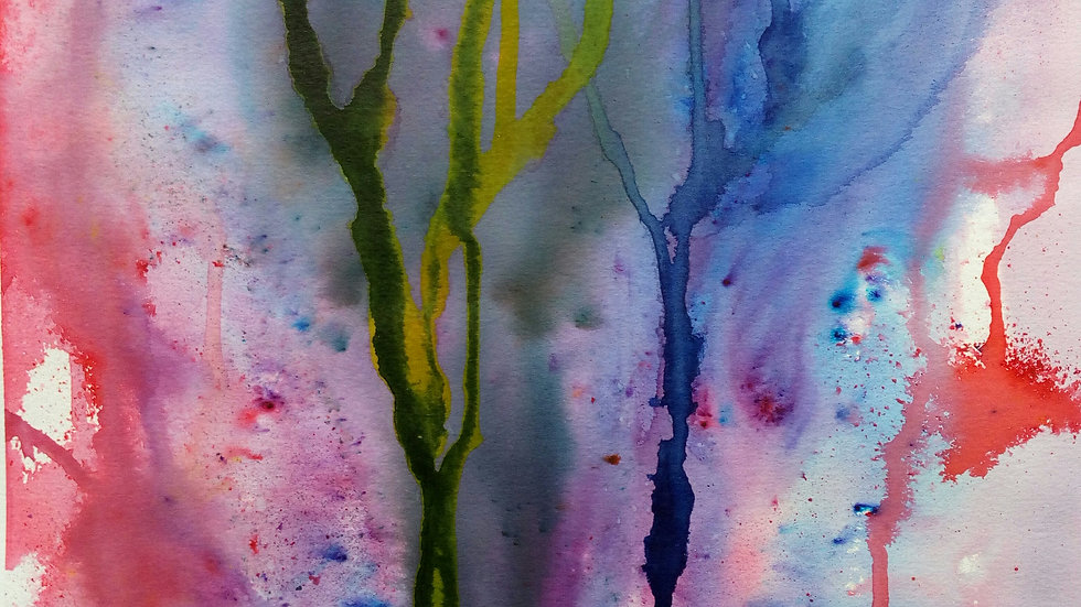 Wildwood mixed media painting, full image, abstract trees and magic.