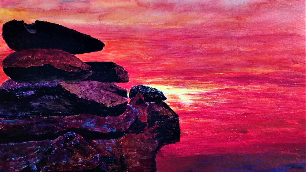 Sentinels of the Sunset, mixed media painting, rocky outcrop and sunset, full image.