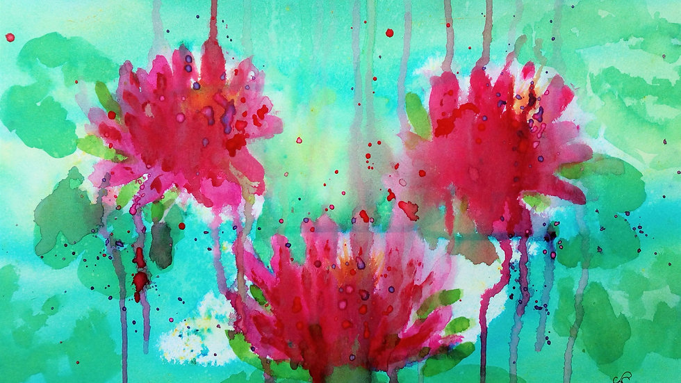 Water lilies, watercolour flower painting, full image.