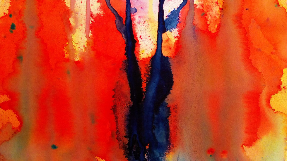 Fire Tree, an original mixed media painting, full image.