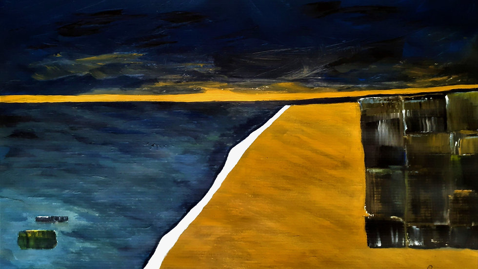 Full image of painting; geometric beach