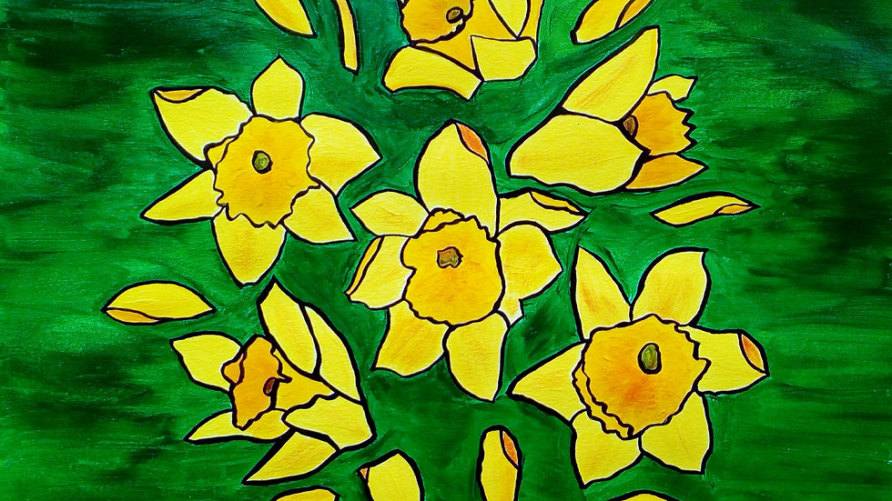 Daffodils, an acrylic, stained glass effect painting, full image.