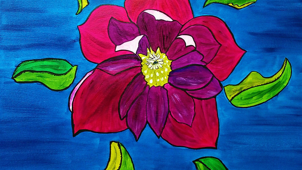 Hellebore, stained glass effect, flower painting, full image.