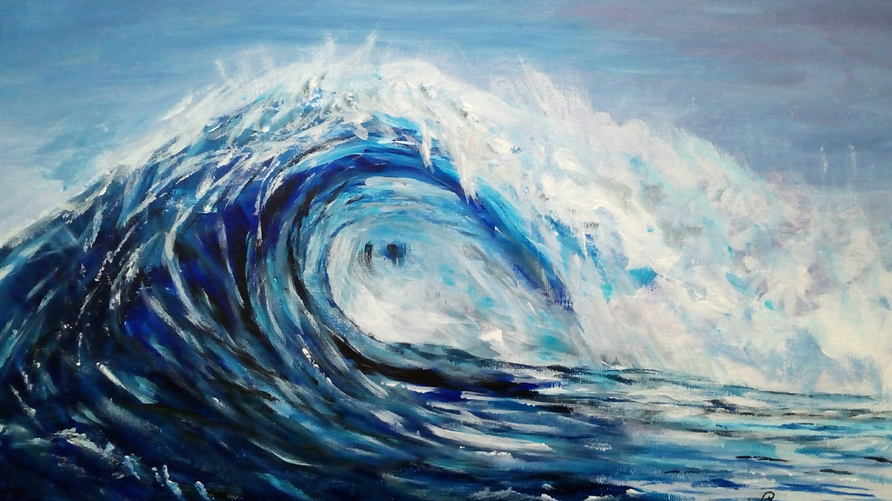 The Wave, an original acrylic painting, full image.