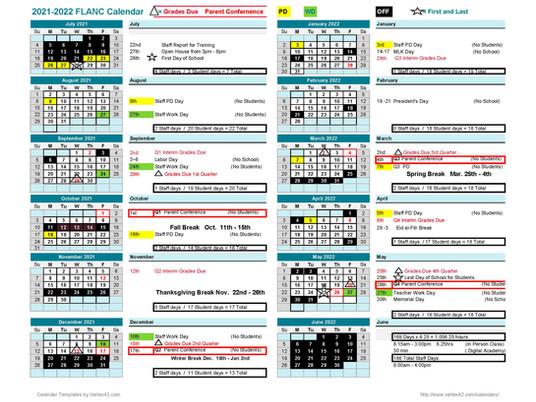 2021 - 2022 School Calendar