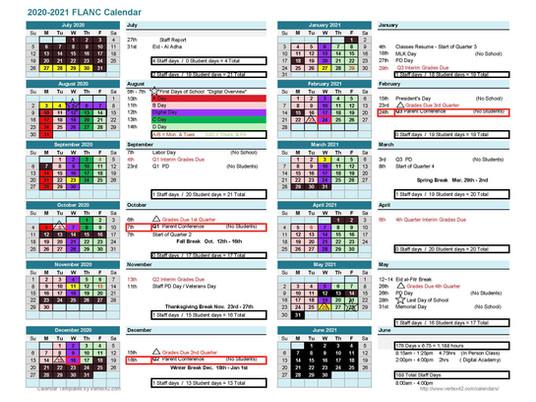 2020 - 2021 FLANC Re-Start School Calendar