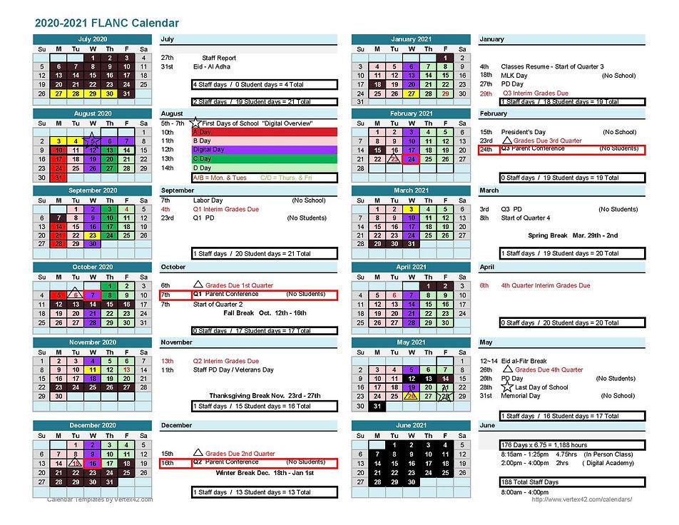 2020-2021 FLA-NC RESTART School Calendar