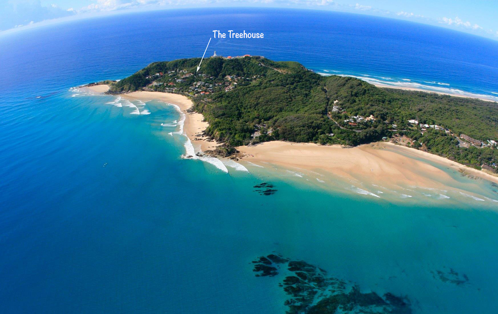 Cape Byron with arrow to Treehouse