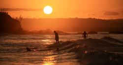 Sunset surfing at Wategos