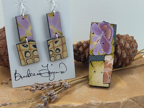 Lilac and Yellow Pendant and Earring Set