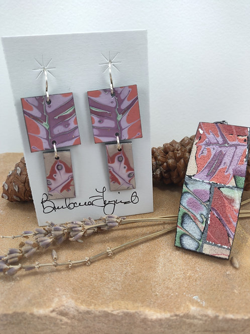 Coral, Lavender and Green Pendant and Earring Set