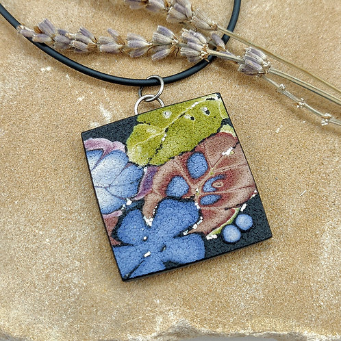 Blue, Chartreuse and Copper Pendant