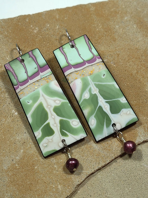 Pink/Green Earrings with FW Pearl