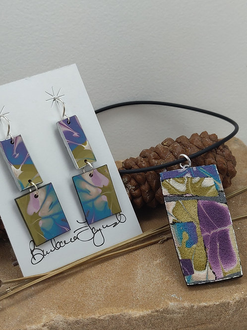 Chartreuse, Fuchsia and Turquoise Pendant and Earring Set