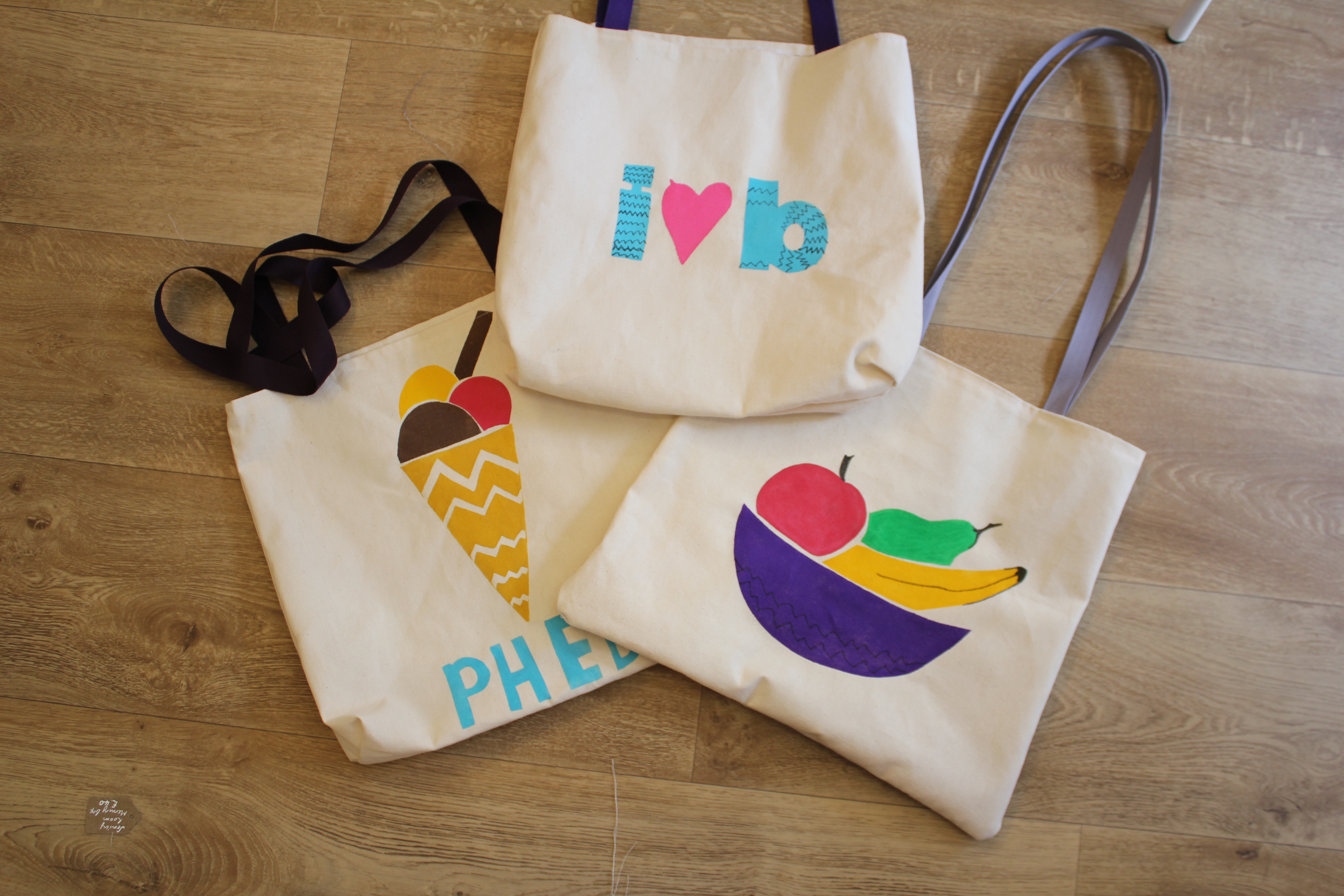 stencilled bags