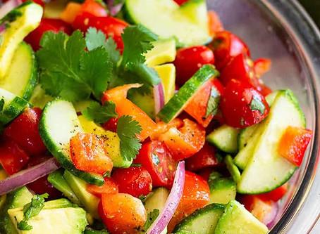 avocado, cucumber, & tomato salad