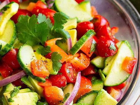 avocado, cucumber, & tomato salad