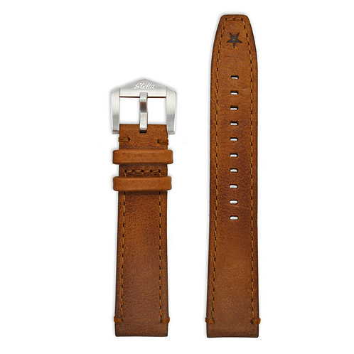 Tobacco cowhide leather strap