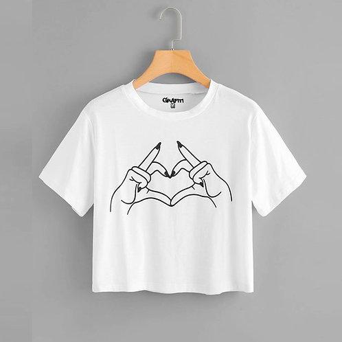 Manos formando corazón Crop T-shirt