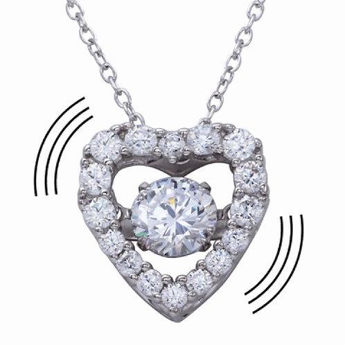 Dancing CZ Heart Necklace