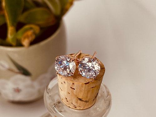 Rose CZ Stud Earrings