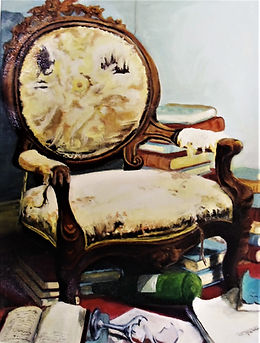 the bibliophile - oil on canvas 40cm by