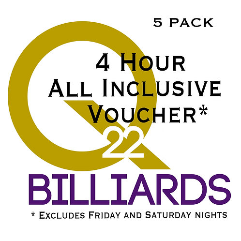 4 Hour Voucher 5 pack