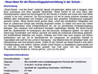 Street Racket Schulung für das Bundesland Hessen